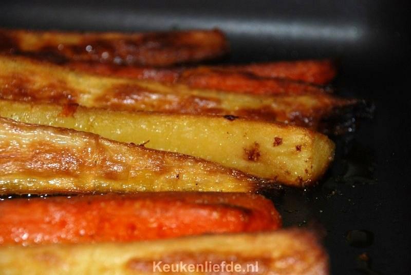 Pastinaak en zoete aardappel uit de braadslee