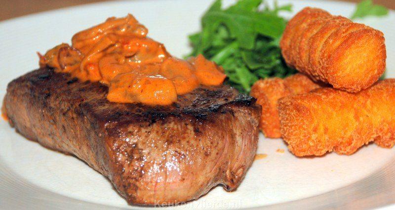 Biefstuk met stroganoffsaus