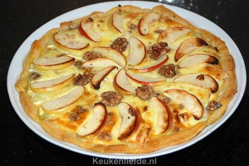 Quiche met brie, appel en walnoten
