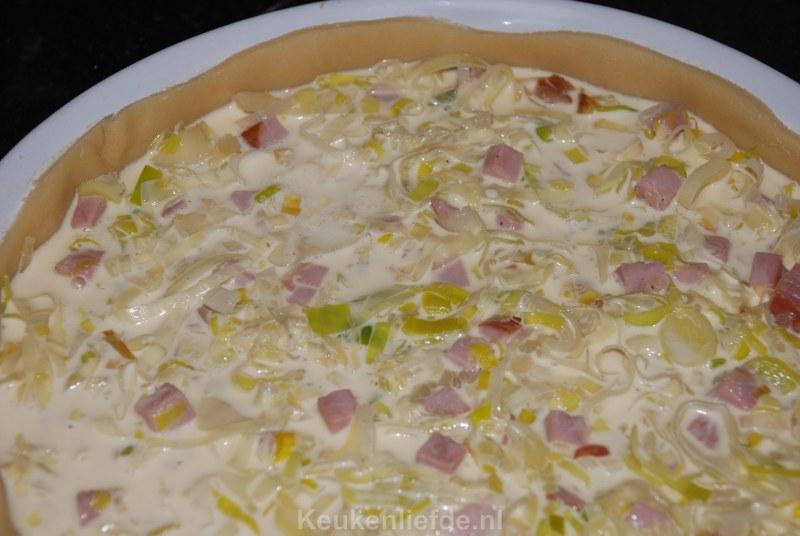 Romige quiche met prei en ham