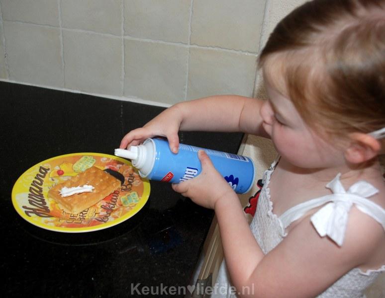 Wafel met slagroom en frambozen