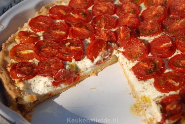 Tomatentaart met geitenkaas