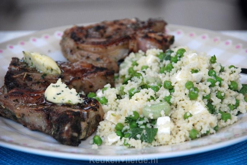 Couscoussalade met tuinbonen, munt en feta