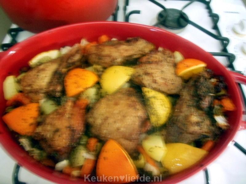 Marokkaanse kip met olijven en sinaasappel door Lya