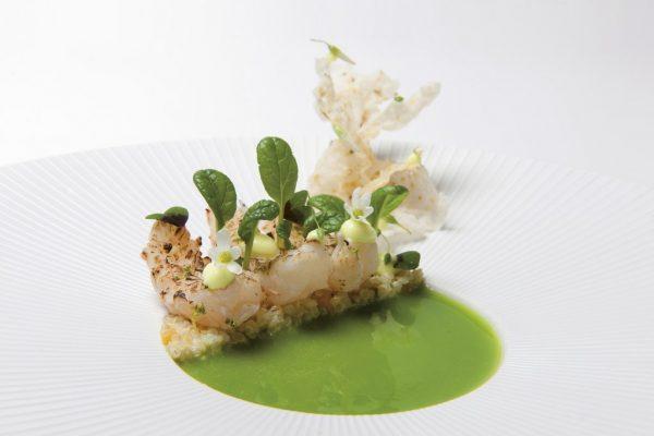 Noordzeekreeftjes met snijbonensap en kerrie van Restaurant De Librije