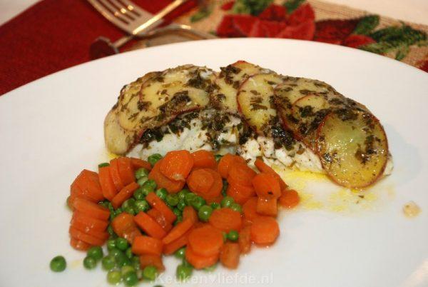 Kabeljauw met aardappeldakje uit de oven