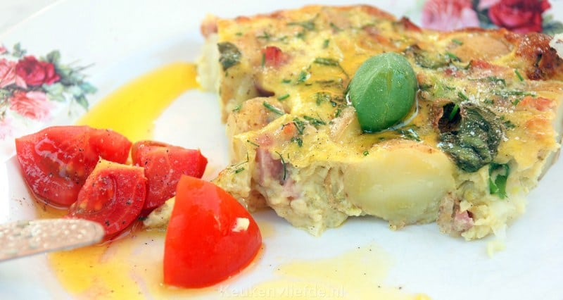 Italiaanse frittata met witte asperges