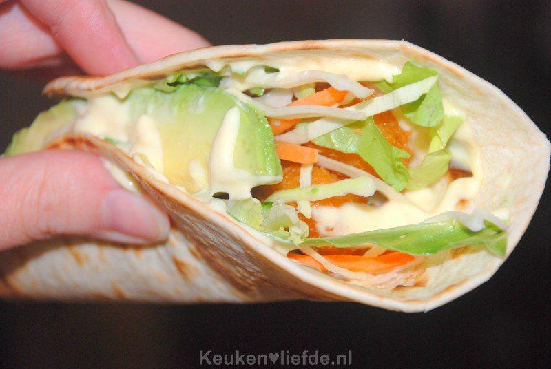 Tortilla wraps met krokante vissticks
