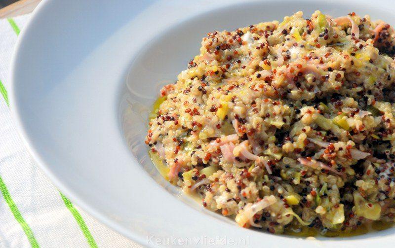 Quinoa-risotto met prei en geitenkaas