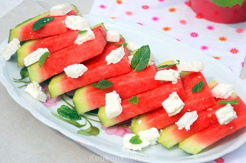 Watermeloen-feta salade