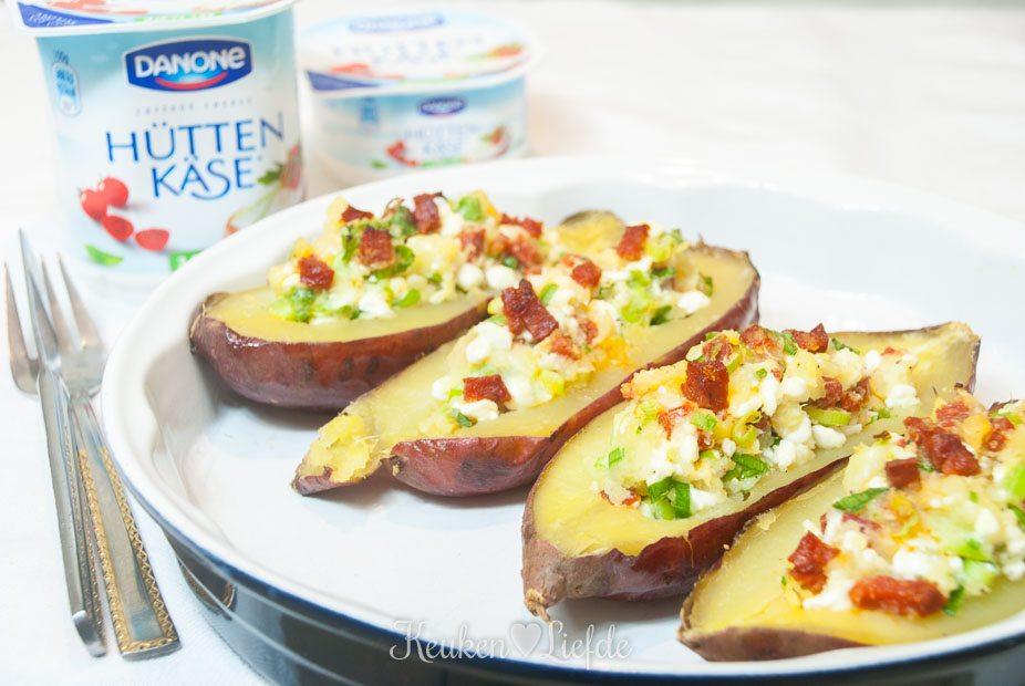Gepofte zoete aardappel met Hüttenkäse