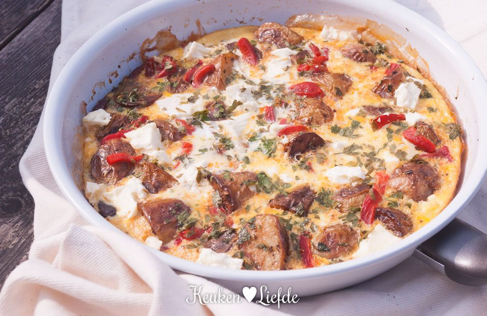 Kliekjesfeest: aardappeltortilla met chorizo en feta