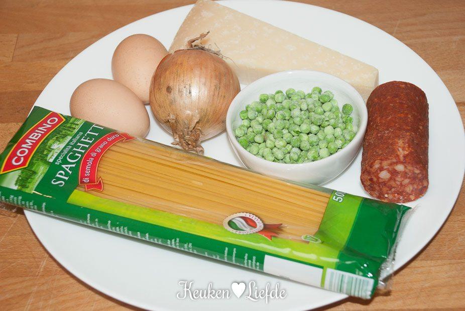 Spaghetti carbonara met doperwten en chorizo-0396