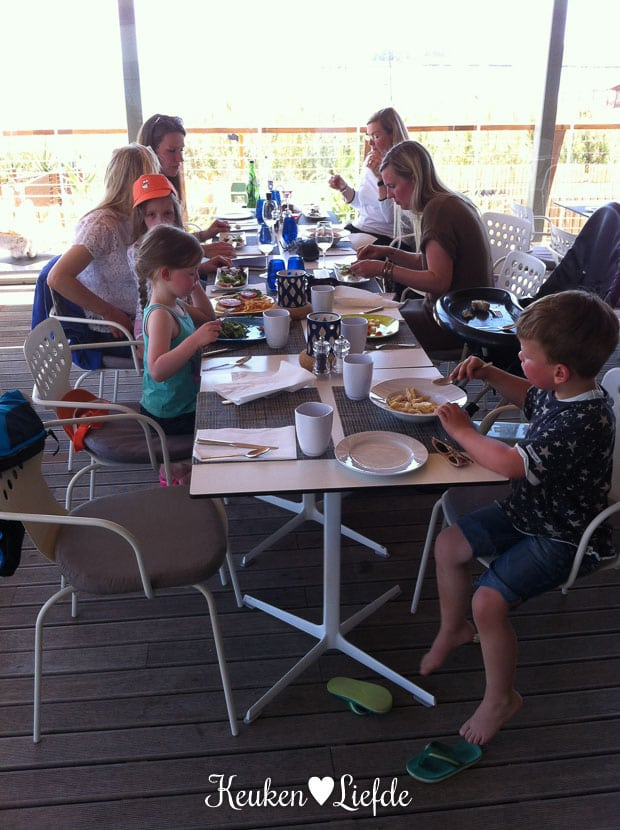 Onze eerste lunch in restaurant As Dunas.