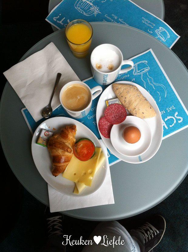 Het ontbijt bij Motel One.