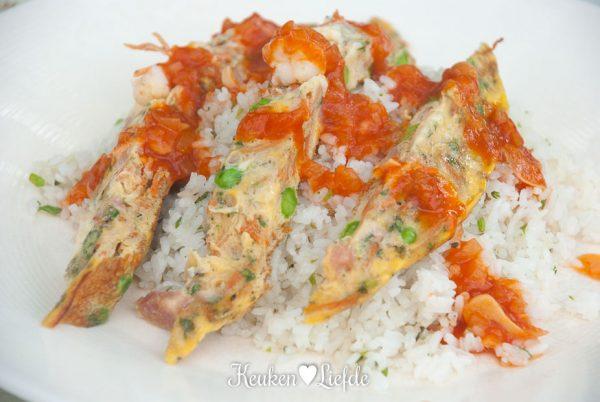 Foe yong hai met gebakken rijst