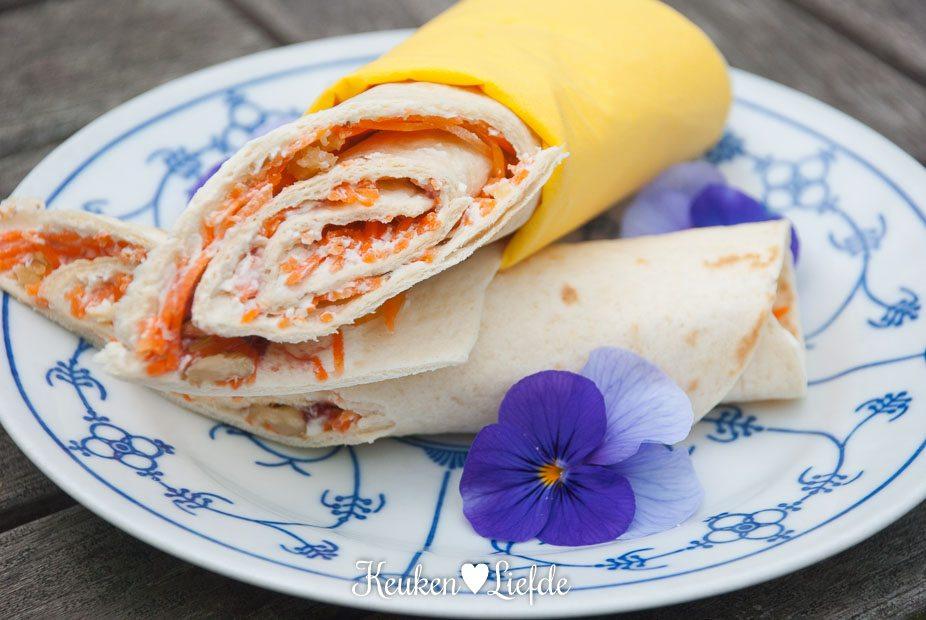 Speels & Smakelijk: lunchwrap met roomkaas en wortel