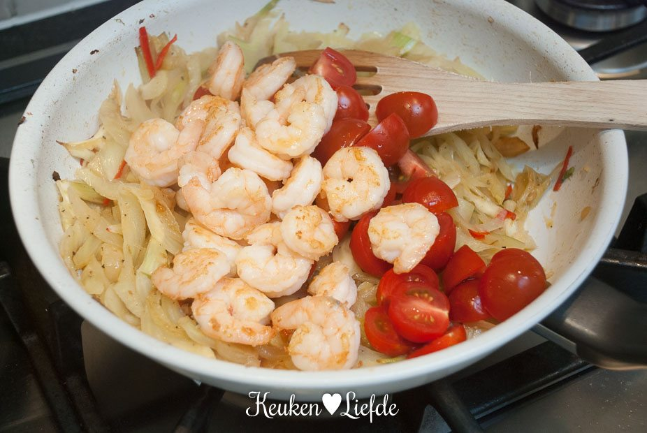 Spaghetti met venkel en garnalen-3175