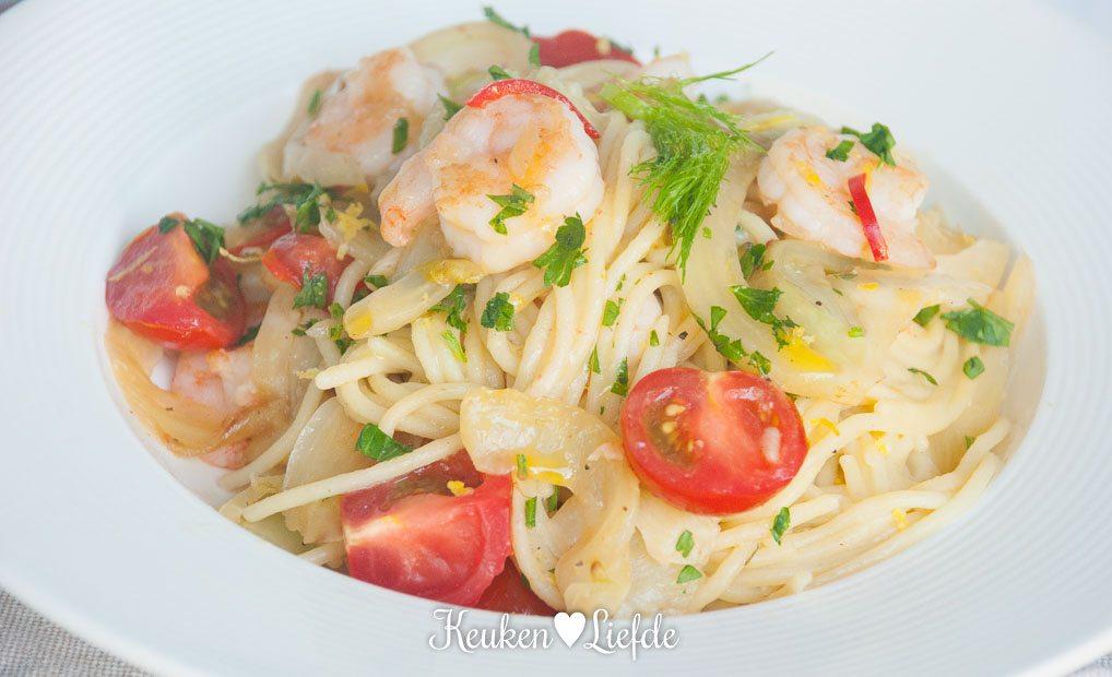 Glutenvrij: spaghetti met venkel en garnalen