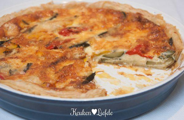 Quattro formaggi quiche met gegrilde groenten