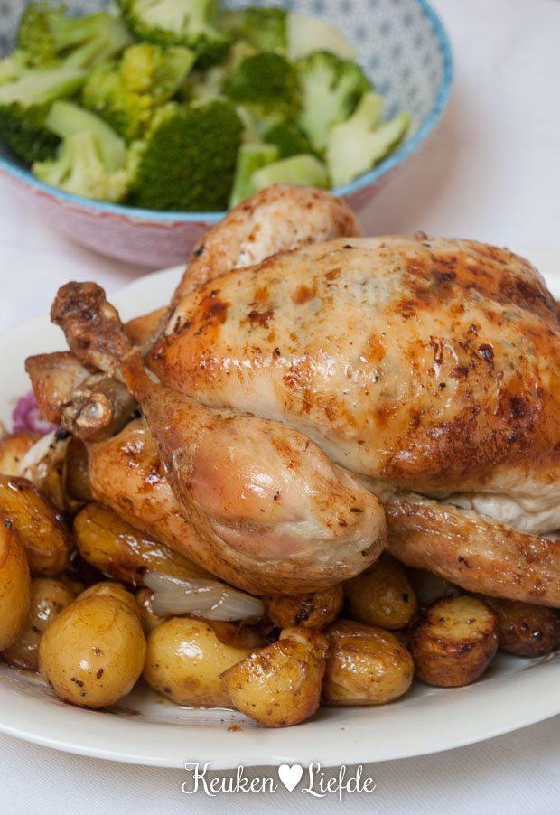 Spijs & Wijn: hele kip uit de oven met citroen-, tijm- en knoflookboter