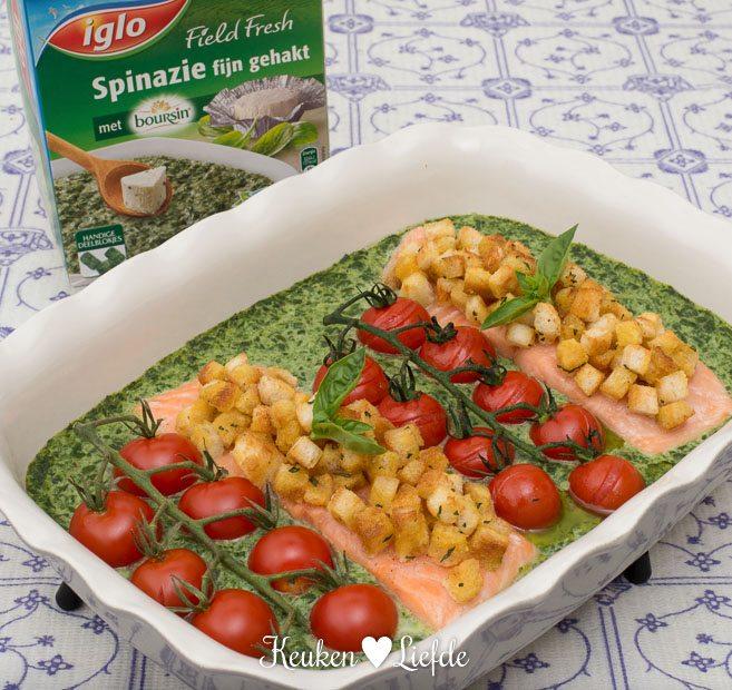 Zalm ovenschotel met spinazie Boursin
