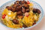 Zoete-aardappelstamppot met ketjap Valess Filetstukjes