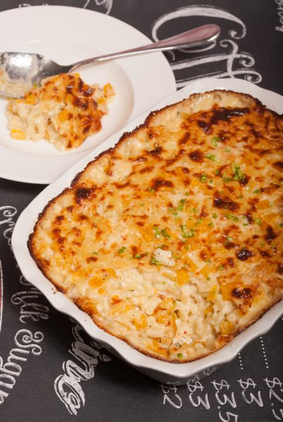 Mac and cheese met flespompoen