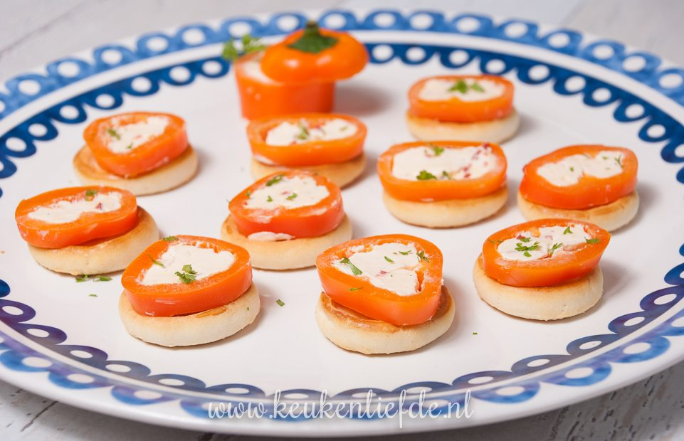 Oranje paprika met roomkaas