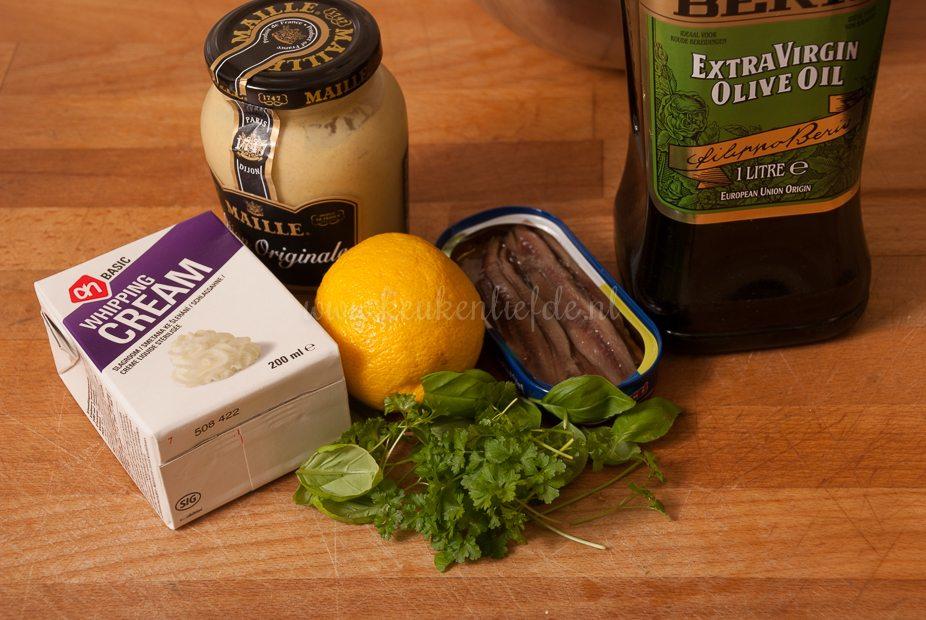 Groene salade met gepocheerde kip-0833