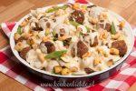 Bloemkool-ovenschotel met gehaktballetjes en kaassaus