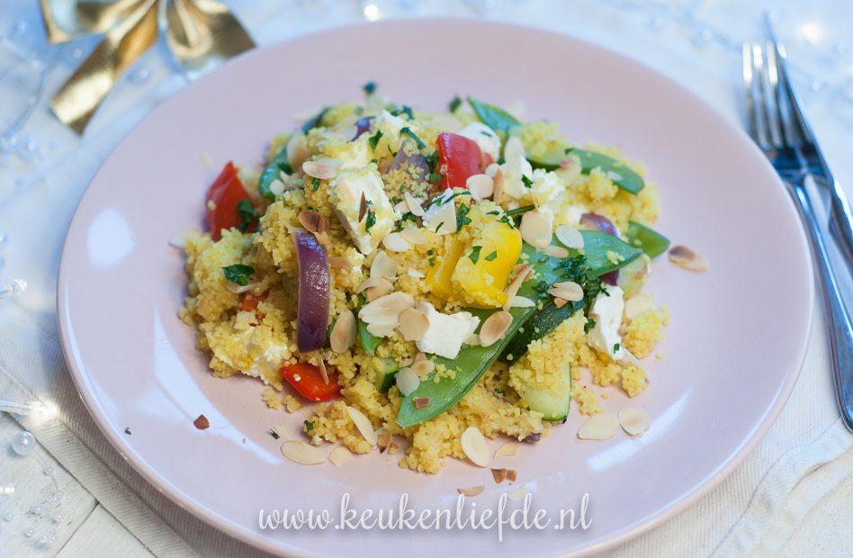 Vega kerst: couscous met kerrie en warme feta