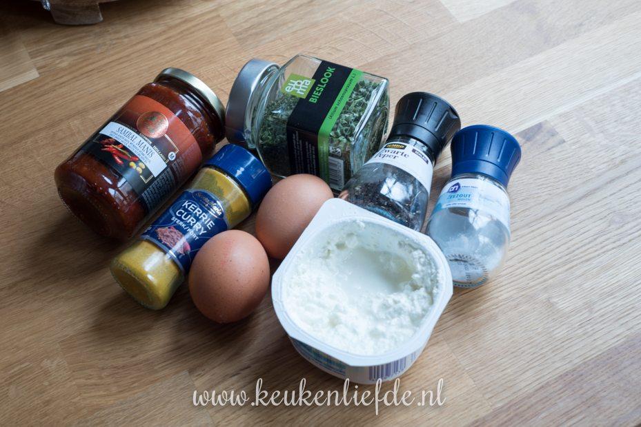 Koolhydraatarm: eiersalade met Hüttenkäse