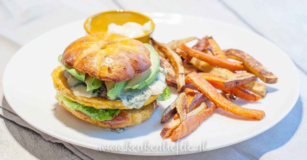 Vegaburger met groentefriet