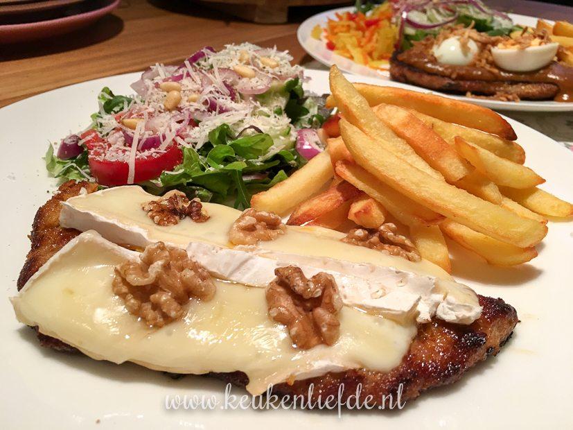 Schnitzel met brie, walnoot en honing