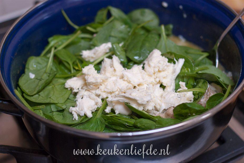 Risotto met kip, pesto en spinazie