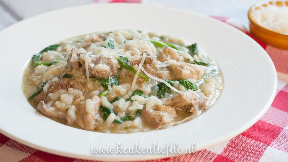 Risotto met pesto, kip en spinazie