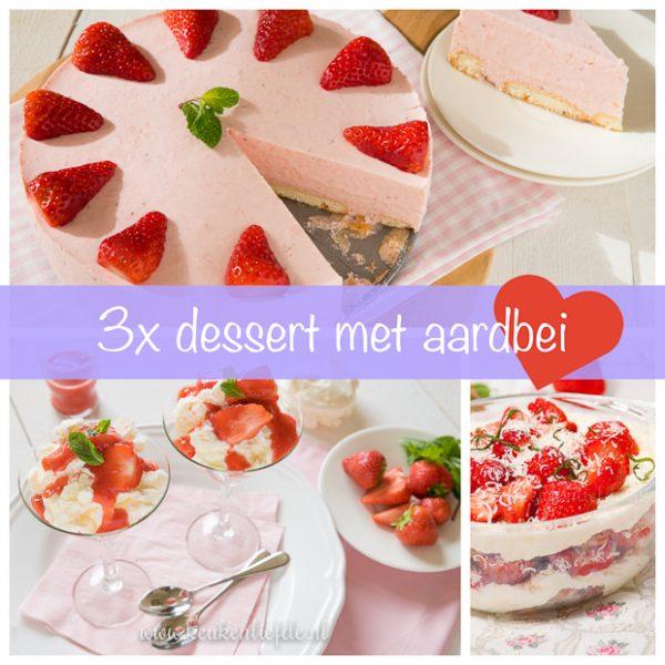 3x dessert met aardbei