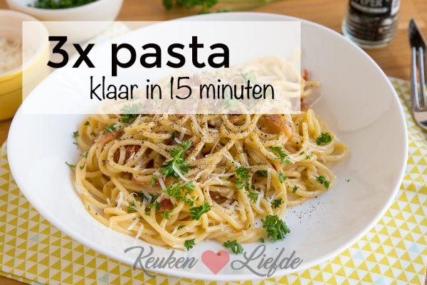 3x pasta klaar in 15 minuten