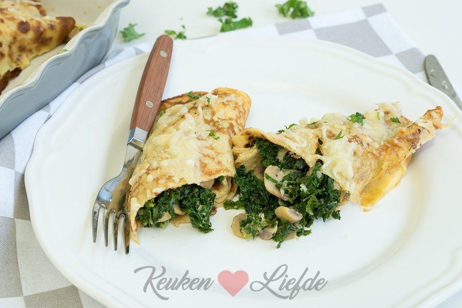 Gevulde pannenkoek met boerenkool en champignons