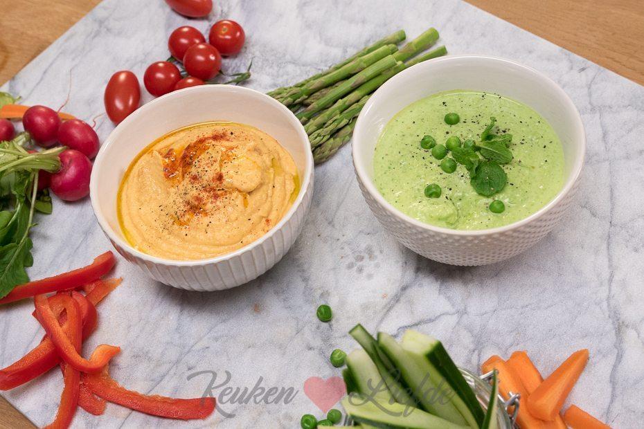 2x hummusdip met groentesnacks