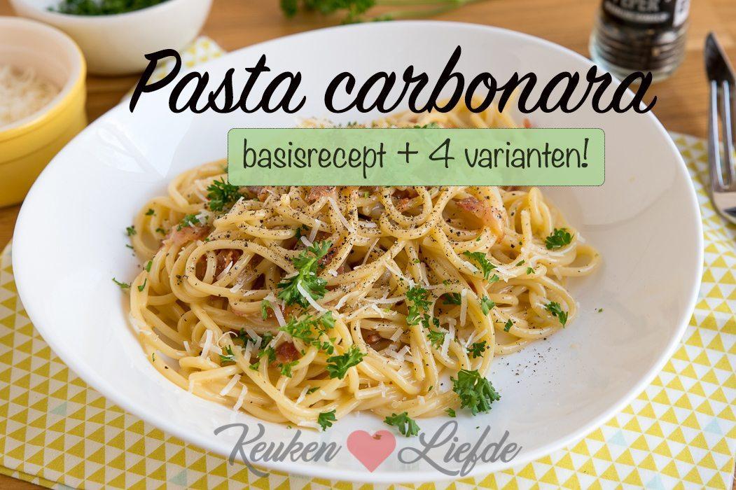 5x pasta carbonara (basisrecept + 4 varianten)