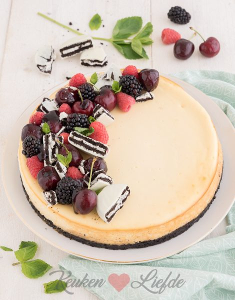 Witte-chocoladecheesecake met oreobodem