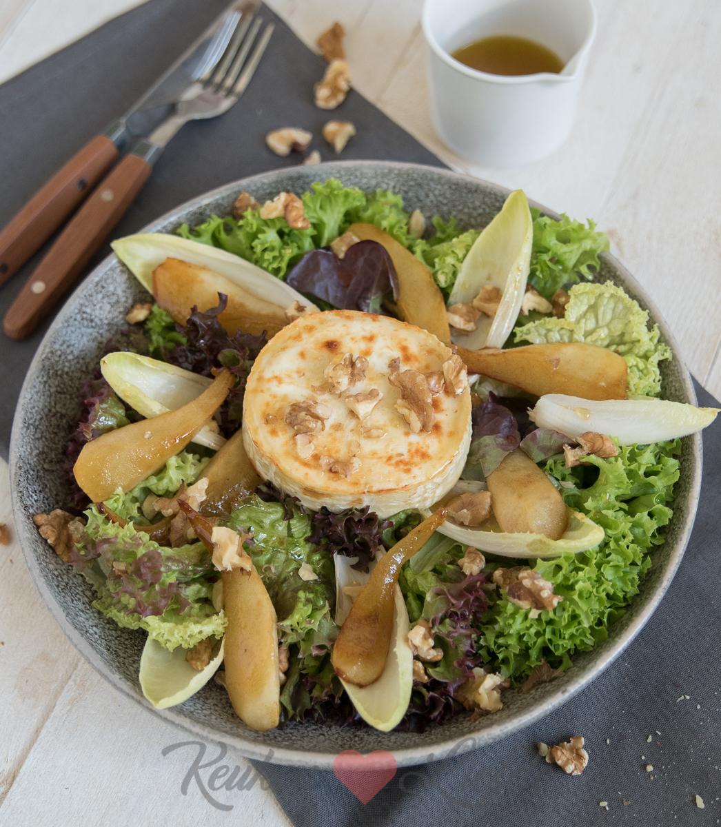 Geitenkaas salade met gebakken peer