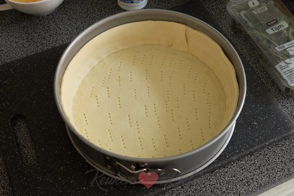Hartige taart met pompoen, geitenkaas en spek