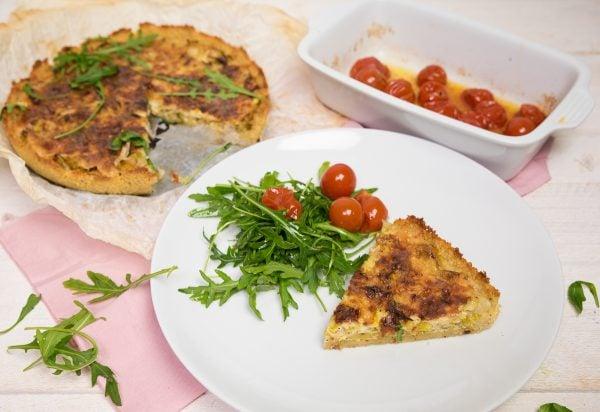 Couscous-quiche met prei en oude kaas