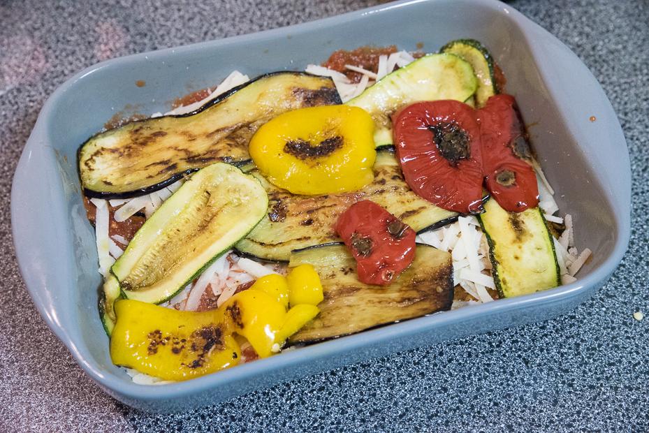 Ovenschotel met paprika, courgette en aubergine