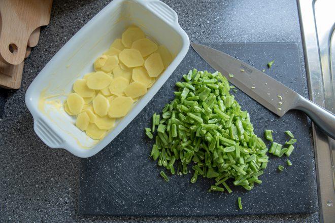 Aardappelgratin met snijbonen