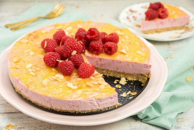 No bake frambozencheesecake met lemoncurd