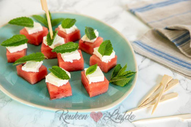 Watermeloen hapje met feta